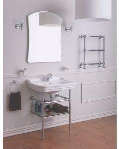 Struttura porta lavabo in ottone con mensola in vetro art. 1049