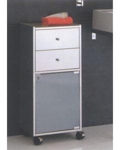 Base inox con ruote, 2 cassetti, 1 anta vetro art. 853