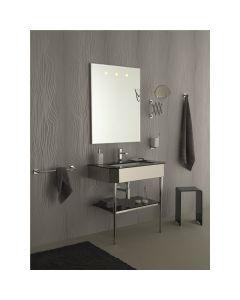 Struttura porta lavabo in inox 304 lucido e cristallo laccato nero DIVA art. 1042