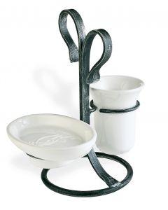 Porta sapone con porta bicchiere da appoggio FLORA art. F 15