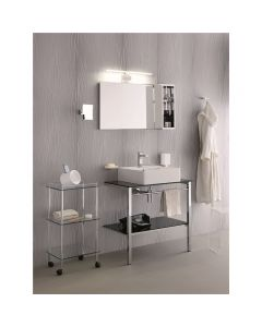 Struttura porta lavabo GEA in ottone con mensola in vetro art. 1133
