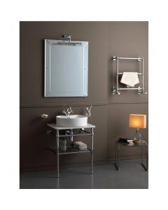 Struttura porta lavabo in ottone con mensola in vetro e piano in marmo art. 1051