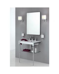 Struttura porta lavabo in ottone con mensola in vetro art. 888