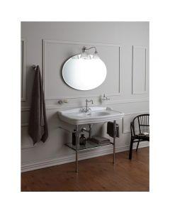 Struttura porta lavabo in ottone con mensola in vetro art. 1047
